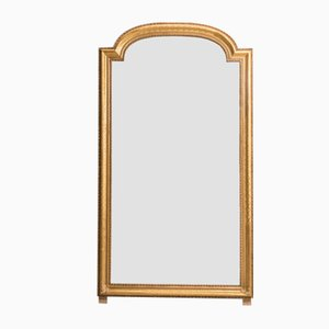Espejo antiguo de vidrio y madera dorada