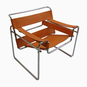 Italienischer Modell B3 Wassily Armlehnstuhl mit orangefarbener Leinenbespannung von Marcel Breuer für Gavina, 1960er