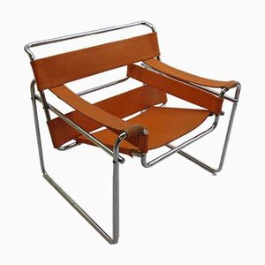 Italian Model B3 Wassily Orange Canvas Armchair by Marcel Breuer for Gavina, 1960s