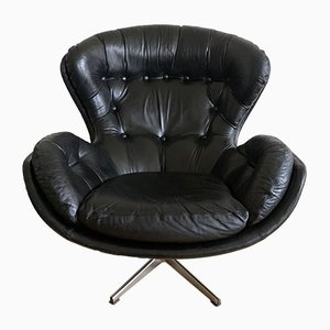 Leather Swivel Chair by Lennart Bender for Ulferts Möbler, 1970s