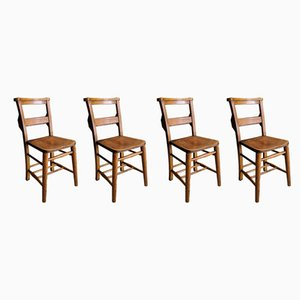 Vintage Elm and Beech Church Chairs, 1920s, Set of 4
