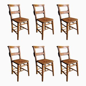 Vintage Elm and Beech Church Chairs, 1920s, Set of 6