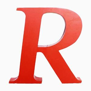 Letter R Metal Sign, 1970s