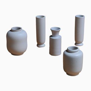 Jarrones vintage de Carrara de Wilhelm Kåge para Gustavsberg. Juego de 5