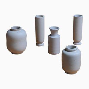 Vasi Carrara vintage di Wilhelm Kåge per Gustavsberg, set di 5