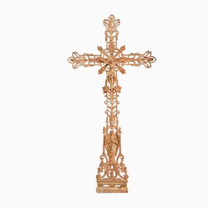 Large Antique French Cast Iron Crucifix