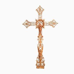 Großes antikes französisches Kreuz aus Gusseisen