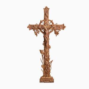 Large Antique French Cast Iron Crucifix