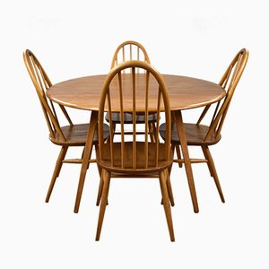 Elm Dining Table & Chairs Set from Ercol, 1960s, Set of 5