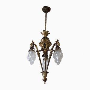 Farola francesa antigua Napoleon III de bronce