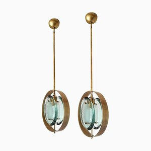 Green Glass and Brass Pendant Lamps by Max Ingrand for Fontana Arte, 1970s, Set of 2