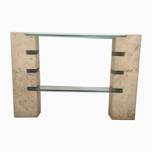 Italian Travertine and Glass Console Table, 1970s