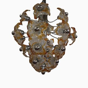 Glass Flower Chandelier from Mazzega, 1970s