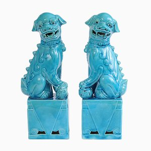 Mid-Century Chinese Turquoise Foo Dog Figurines, Set of 2