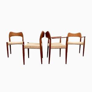 Dänische Esszimmerstühle mit Sitzen aus Papierkordel von Arne Hovmand-Olsen für Mogens Kold Mobelfabrik, 1960er, 4er Set