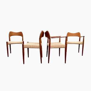 Danish Paper Cord Dining Chairs by Arne Hovmand-Olsen for Mogens Kold Mobelfabrik, 1960s, Set of 4