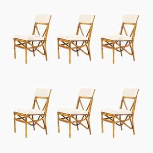Bamboo and Linen Dining Chairs, 1950s, Set of 6