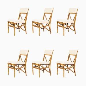 Esszimmerstühle aus Bambus & Leinen, 1950er, 6er Set