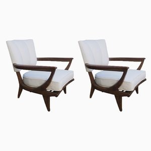 Oak Armchairs by Etienne Henri Martin for Steiner, 1948, Set of 2