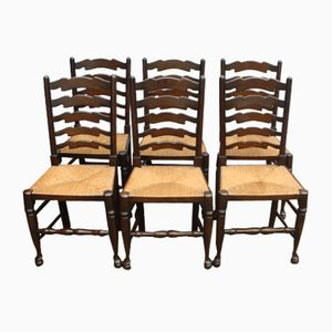 Oak and Leather Dining Chairs, 1940s, Set of 6