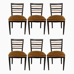 Beech, Mahogany, and Maple Dining Chairs, 1940s, Set of 6