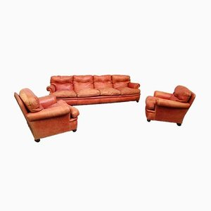 Butacas y sofá modelo Living Dream en rojo de Poltrona Frau, años 70. Juego de 3
