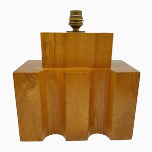 Solid Wood Table Lamp from Maison Regain, 1970s