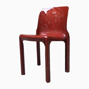 Roter italienischer Selene ABS Schreibtischstuhl von Vico Magistretti für Artemide, 1969