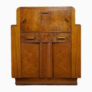 Secretaire Art Deco in legno di noce massiccio di F.H Marshall, Regno Unito