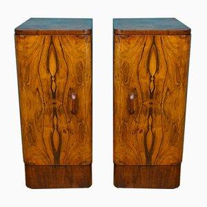 Alacenas Art Déco de madera nudosa de nogal, años 30. Juego de 2