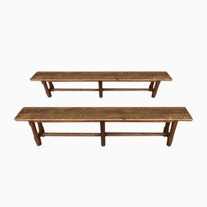 Antique Oak Benches, Set of 2