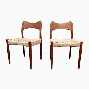 Dänische Esszimmerstühle aus Teak mit Papierkordelgeflecht von Arne Hovmand-Olsen für Mogens Kold, 1960er, 2er Set