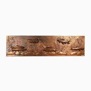 Large German Copper Relief Wall Light from Kallasch, 1960s