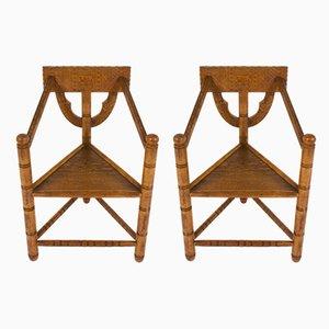 Schwedische Vintage Armlehnstühle aus Eiche, 2er Set