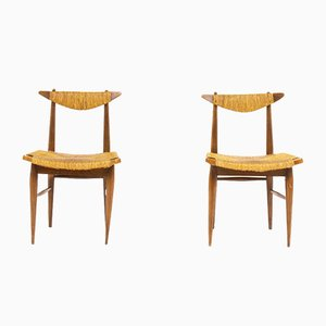 Italian Oak and Straw Dining Chairs, 1950s, Set of 2