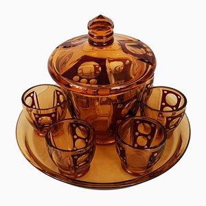 Art Déco Teeservice aus getöntem Kristallglas, 1930er