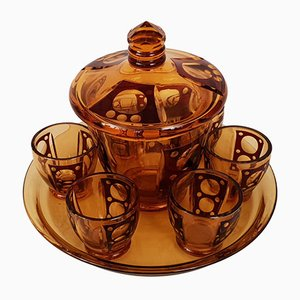 Art Deco Tinted Crystal Tea Set, 1930s