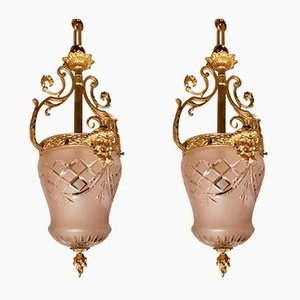 Antique Gilded Bronze and Glass Lanterns, Set of 2