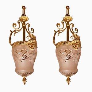 Lanterne in bronzo dorato e vetro, set di 2