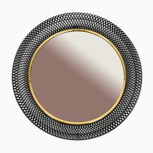 Mid-Century Spiegel mit Rahmen aus schwarzem Metall, 1950er