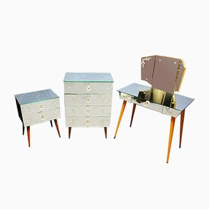 Dresser with Mirror and Nightstands, 1950s, Set of 3