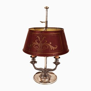 Antike Tischlampe aus versilberter Bronze