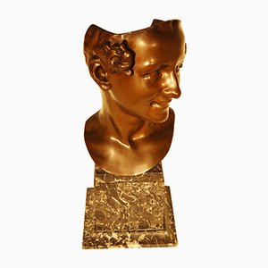 Art Deco Bronze Bust by Cilles Bruxelles for Fonderie Nationale des bronzes, 1930s