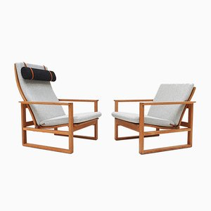Danish Oak Sled Lounge Chairs by Børge Mogensen for Fredericia, 1950s, Set of 2