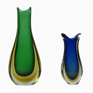 Jarrones italianos de cristal de Murano de Murano, años 60. Juego de 2