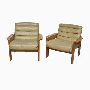Pale Green Leather and Elm Lounge Chairs, 1960s, Set of 2