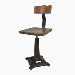 Cast Iron and Ash Desk Chair from Singer, 1930s