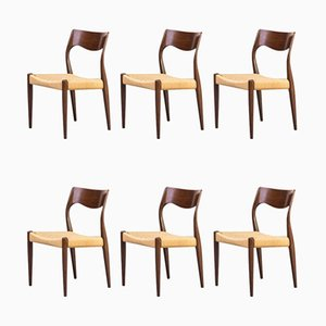 Model 71 Dining Chairs by Niels Otto Møller for J.L. Møllers, 1960s, Set of 6