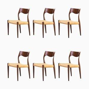 Modell 71 Esszimmerstühle von Niels Otto Møller für J.L. Møllers, 1960er, 6er Set