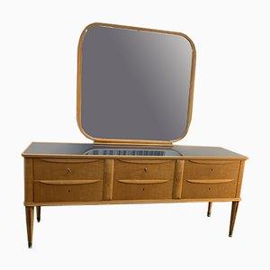 Credenza in acero con specchio, anni '50, set di 2